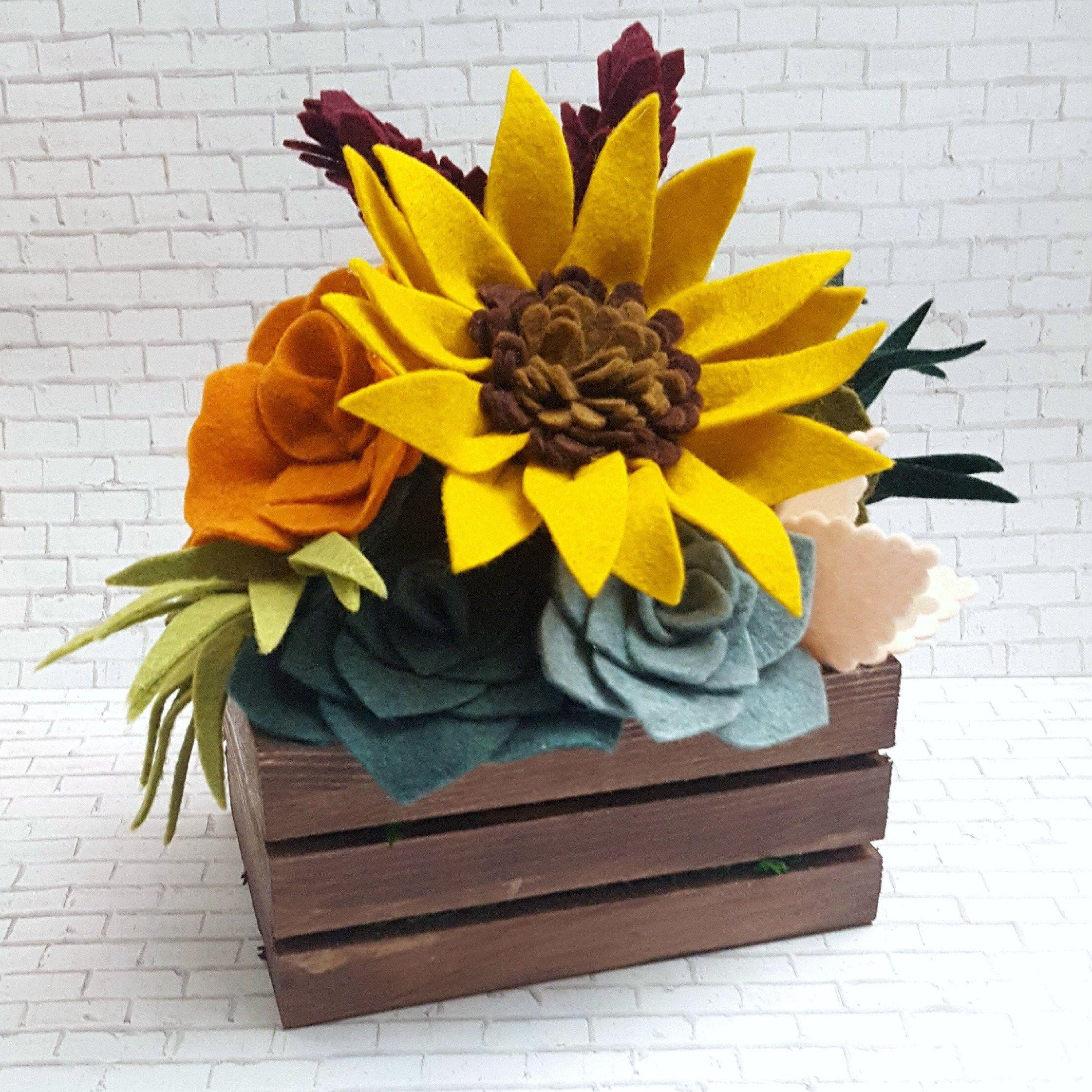Fall Felt Succulent And Flower Arrangement In A Mini Wooden
