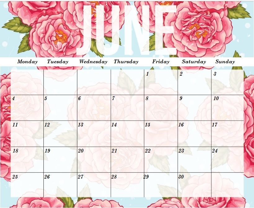 Floral June 2018 Desk And Wall Calendar June Calendar Printable
