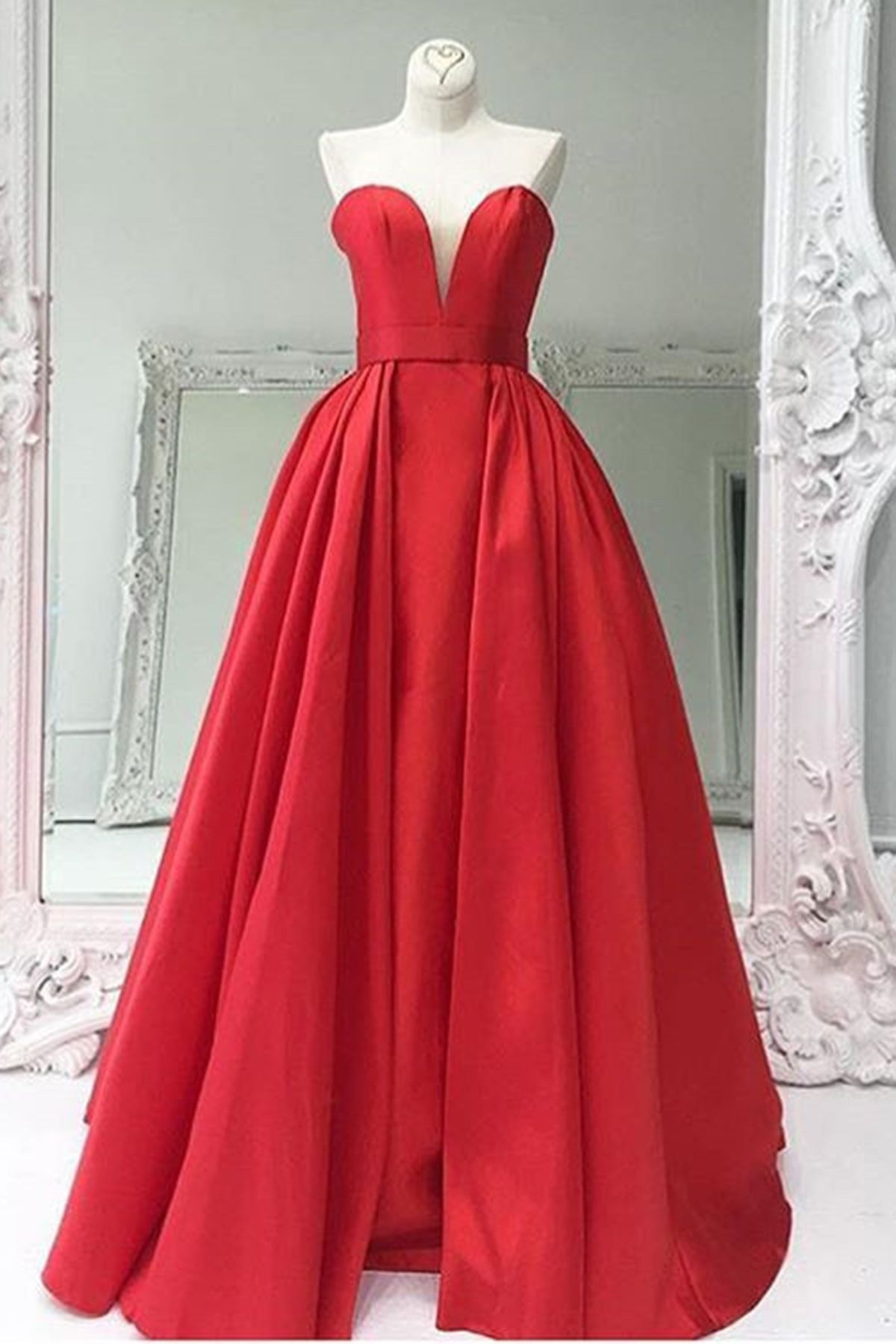 Sweetheart red satin a line long senior prom dress bridesmaid sweetheart red satin a line long senior prom dress bridesmaid dresses ombrellifo Gallery