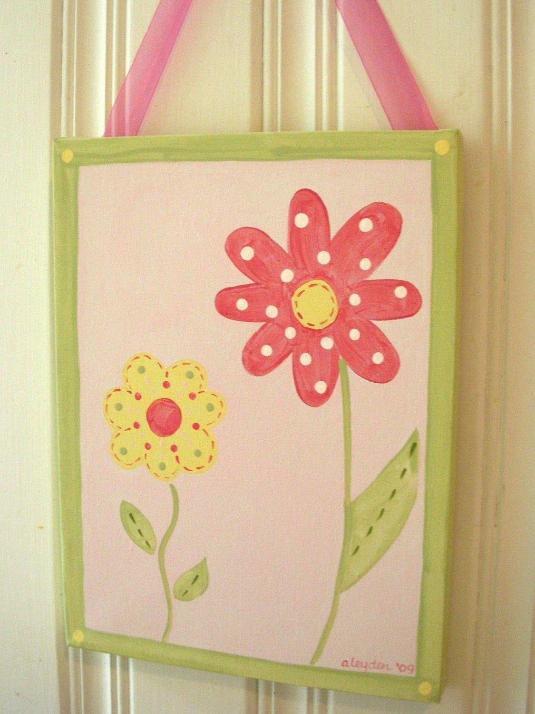 Girl kids room decor..baby nursery wall art..original canvas ...