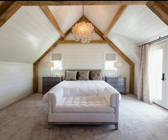Muster Schlafzimmer ~ Landhausstil schlafzimmer holzbalken und kariertes muster