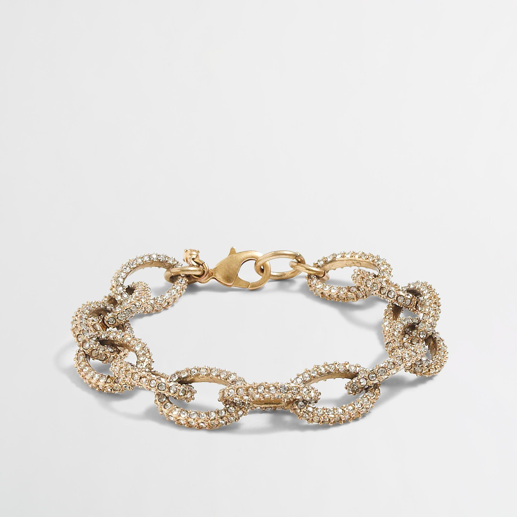 Factory gold and crystal link bracelet women jcrew factory