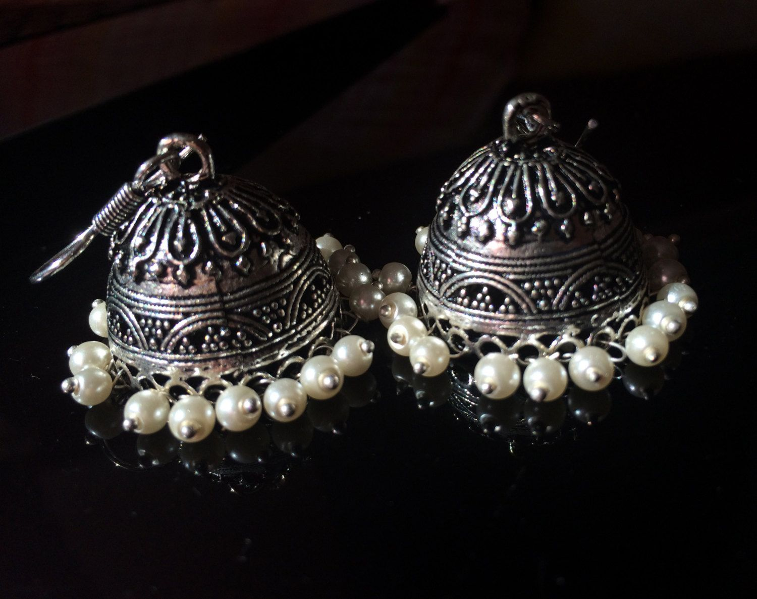 Silver And Pearl Jhumka Earrinigs,bell Earrings Indian,kucchi  Jewelry,temple Ethnic Jewellery,afghan Jewelry By Taneesi