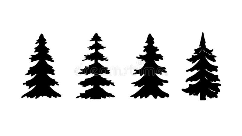 Set Of Silhouette Pine Tree Or Christmas Tree Vector Illustration Royalty Free Illustration In 2020 Pine Tree Silhouette Tree Illustration Tree Images