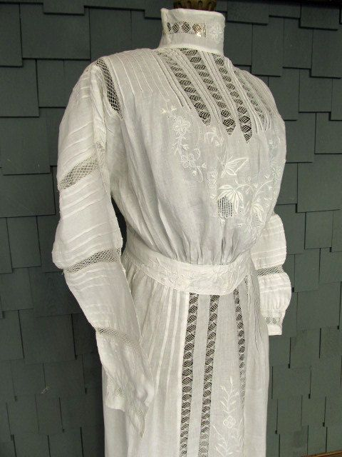 White lingerie dress with lace, embroidery, netting insertion
