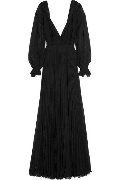 Black silk-georgette Concealed zip fastening along back  100% silk; contrast: 100% polyester; trim: 100% rayon Dry clean Made in the UK