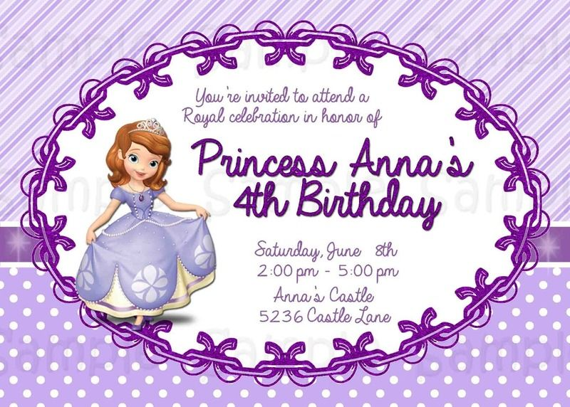 custom printable sofia the first invitation birthday princess