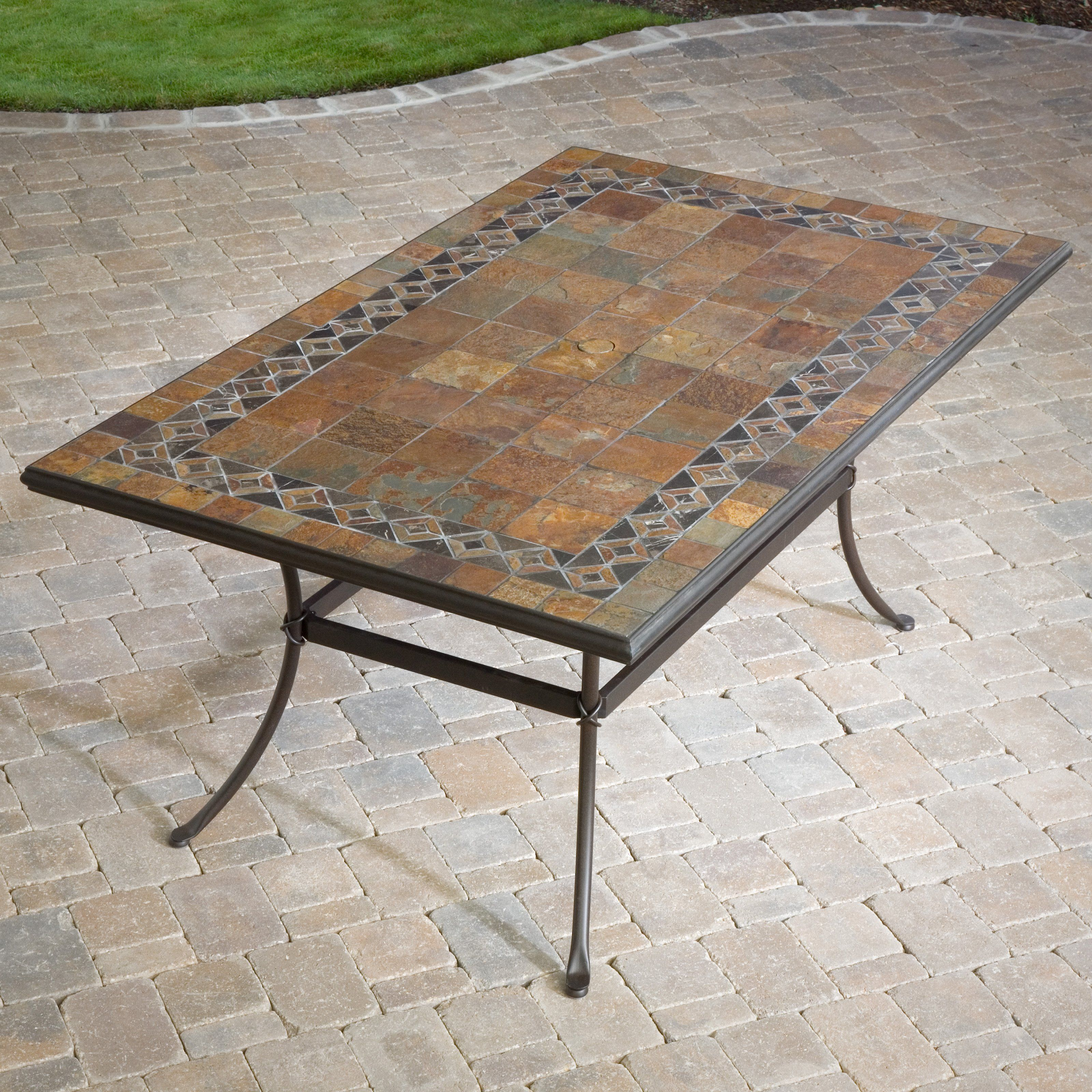 Have to have it. Palazetto 40 x 60 Inch Mosaic Dining ... on Outdoor Living Iron Mosaic id=18190