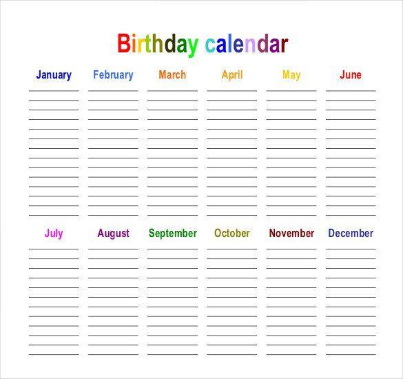 Birthday Calendar - Calendar Template Birthday calendar, Template