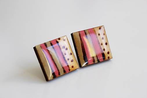 Martinuska / Štvorce/wood/burned/coloured/crystal