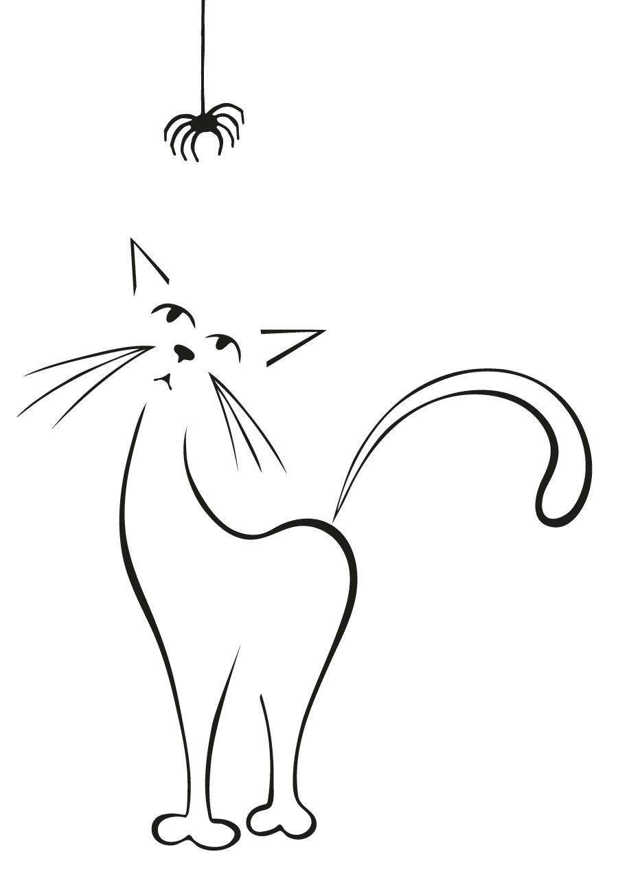 Cat Spider Silhouette Cathousetshirt Kitty Drawing Art Kit Cats