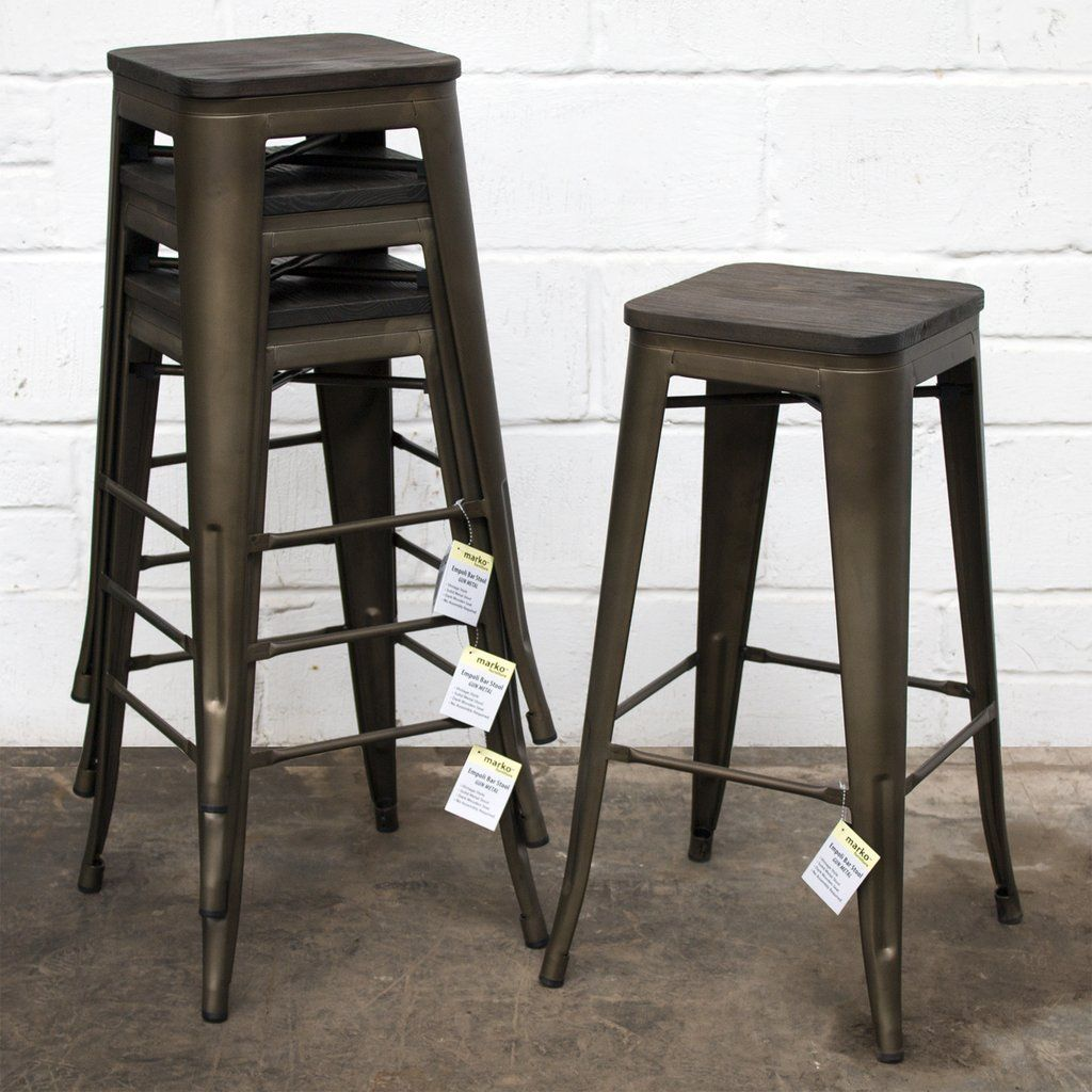 30 Height Set Of 4 High Back Metal Industrial Bar Stools In 2020