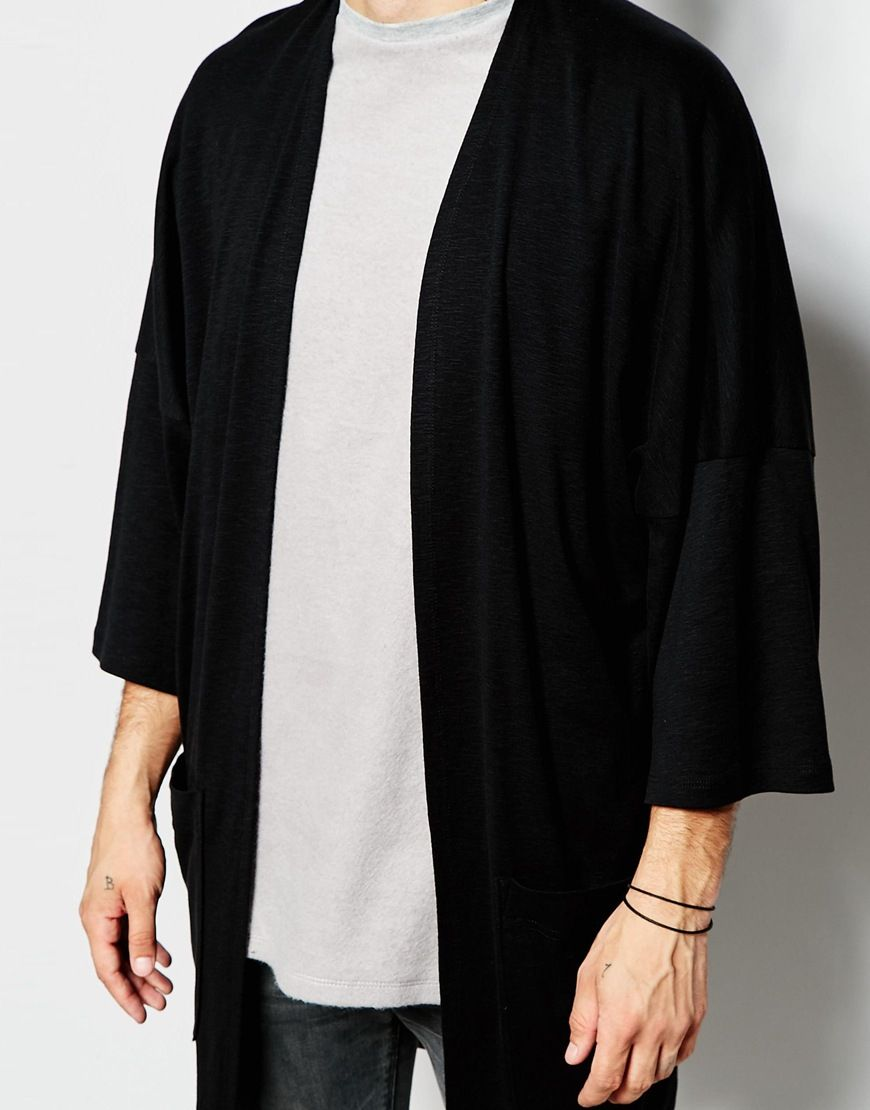 asos-black-oversized-kimono-cardigan-in-slub-jersey-product-2 ...