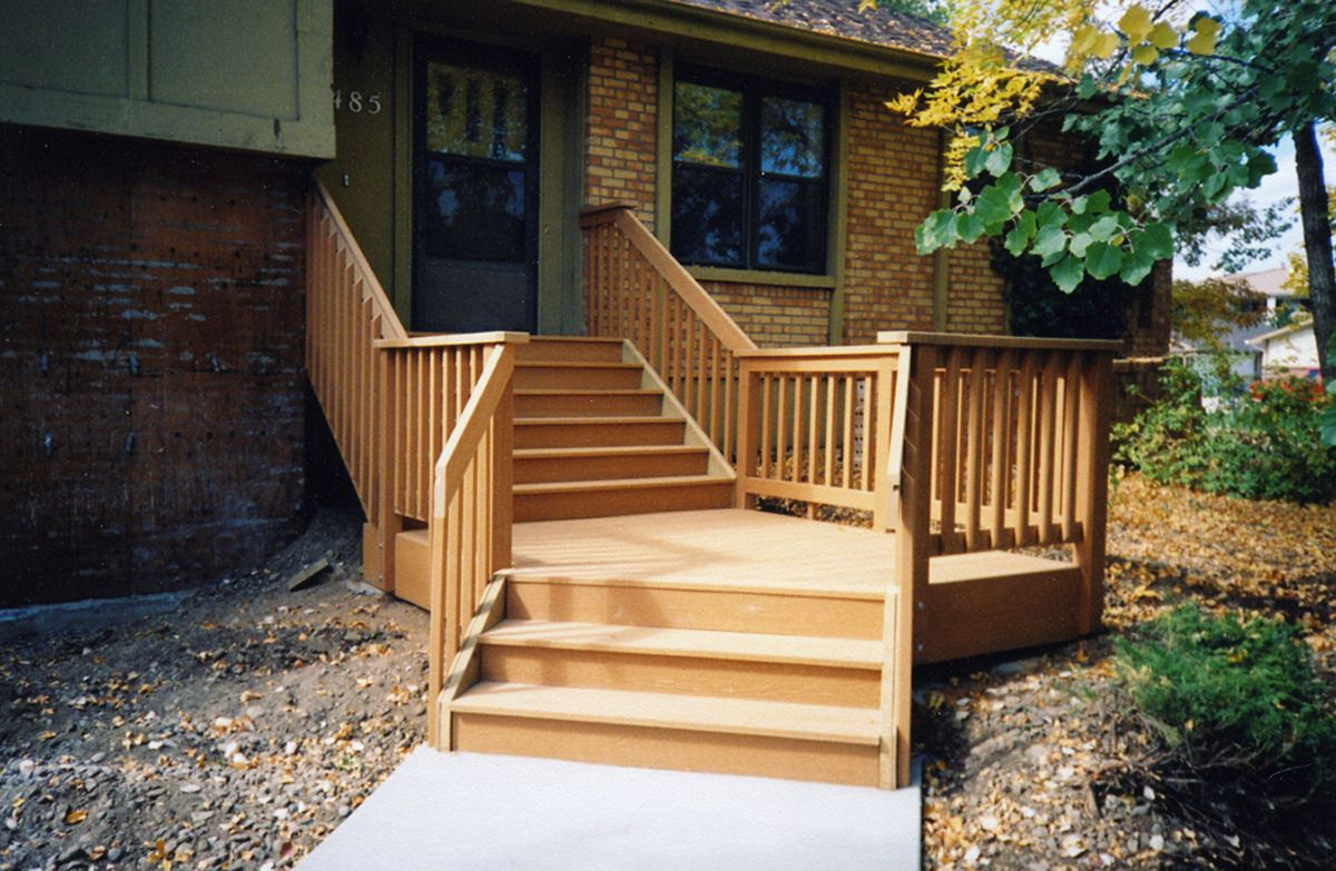 Porches decks patios delta c construction inc - Front Deck Idea Or Could Just Angle Stairs
