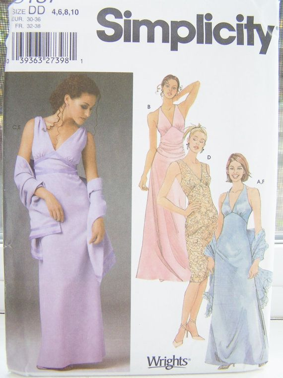 Simplicity 5187 Sewing Pattern, Misses\' Prom Formal, Bridesmaid ...