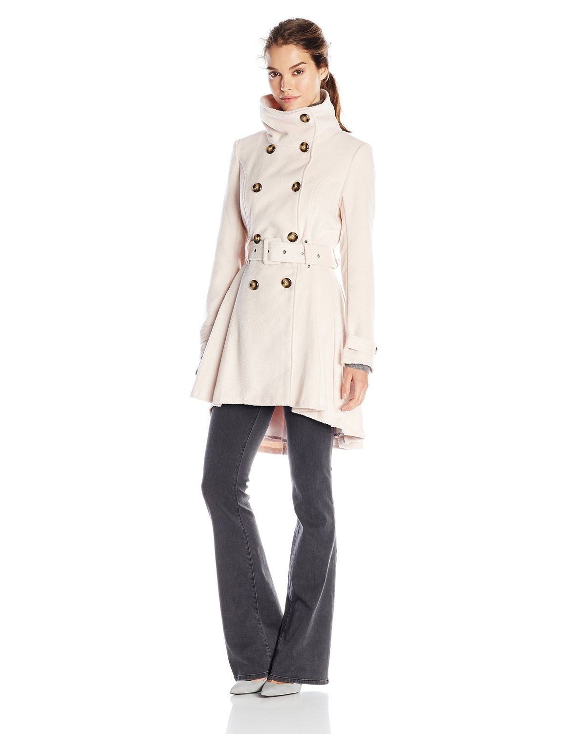 Amazon.com  Steve Madden Women s Double-Breasted Wool Trench Coat with Belt… 2938d130f