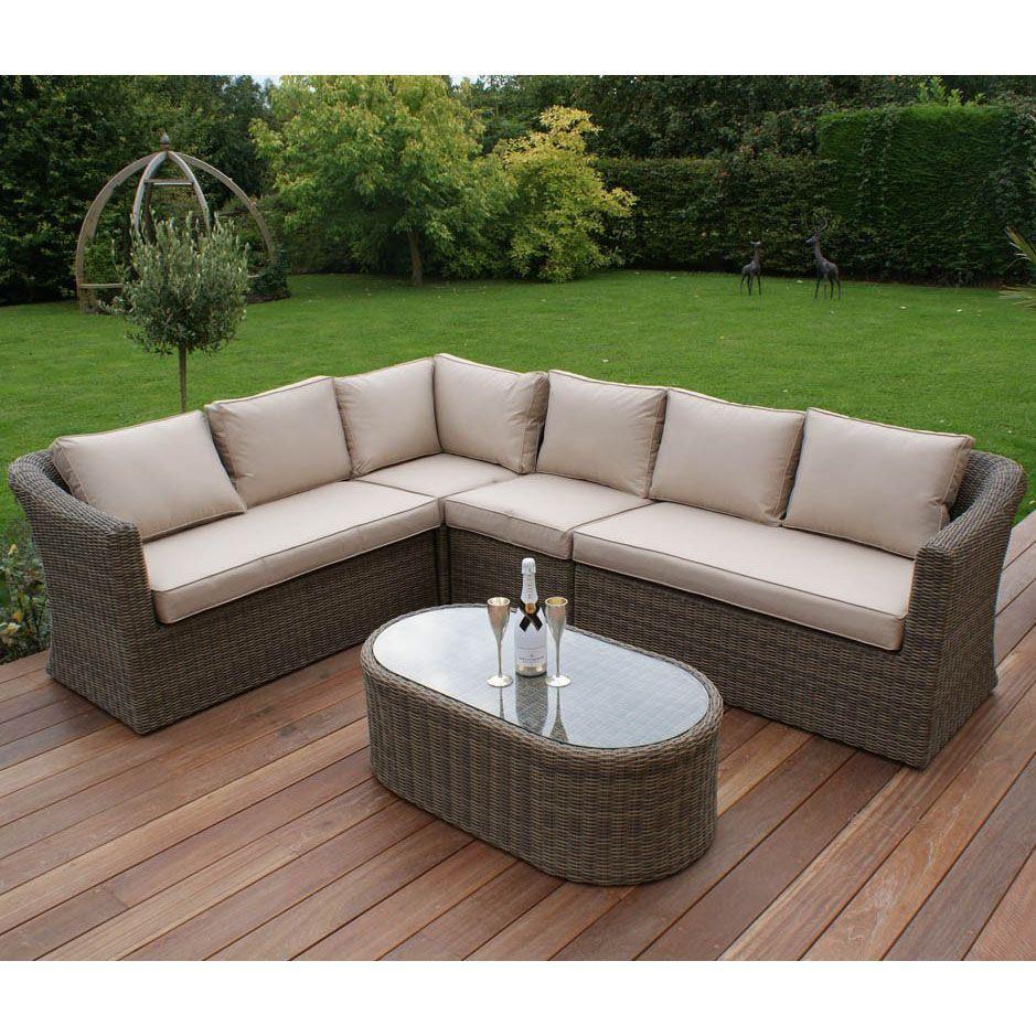 Garden Rattan Corner Sofa Set Large Aluminum Frame Cushion ...