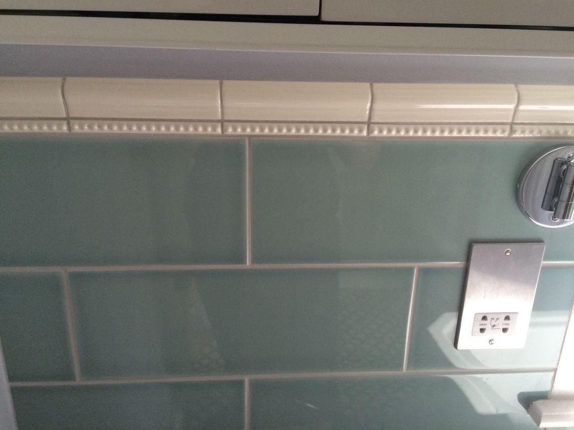 Bathroom tiles, Topps Tiles; Attringham Seagrass & V&A cream dado ...