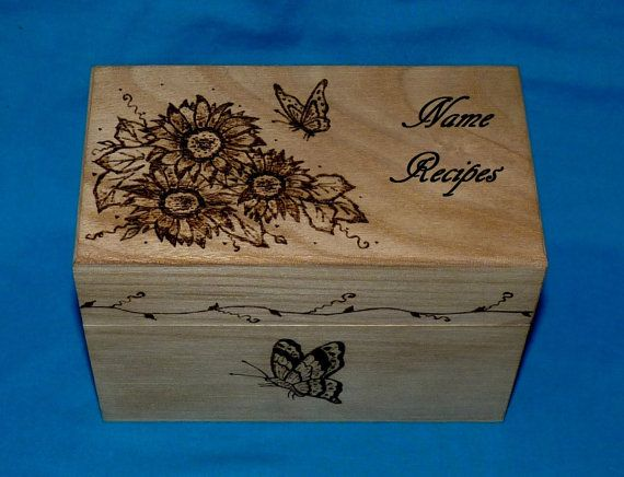 Decorative Recipe Box Delectable Custom Engraved Recipe Box Sunflower Wood Burned Wedding Recipe Decorating Design