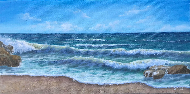 10 20 Origin Oil Painting Seascape Ocean Wall Art Waves Shore Seaside Landscape Beach Painting Ocean Art Surf Art Surf Surf Painting Surf Art Beach Painting