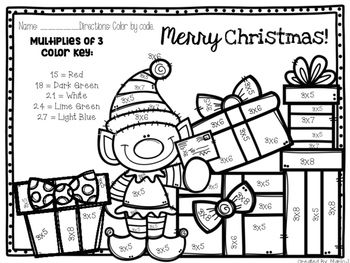 Christmas Multiplication Color By Number Bundle Kindergarten