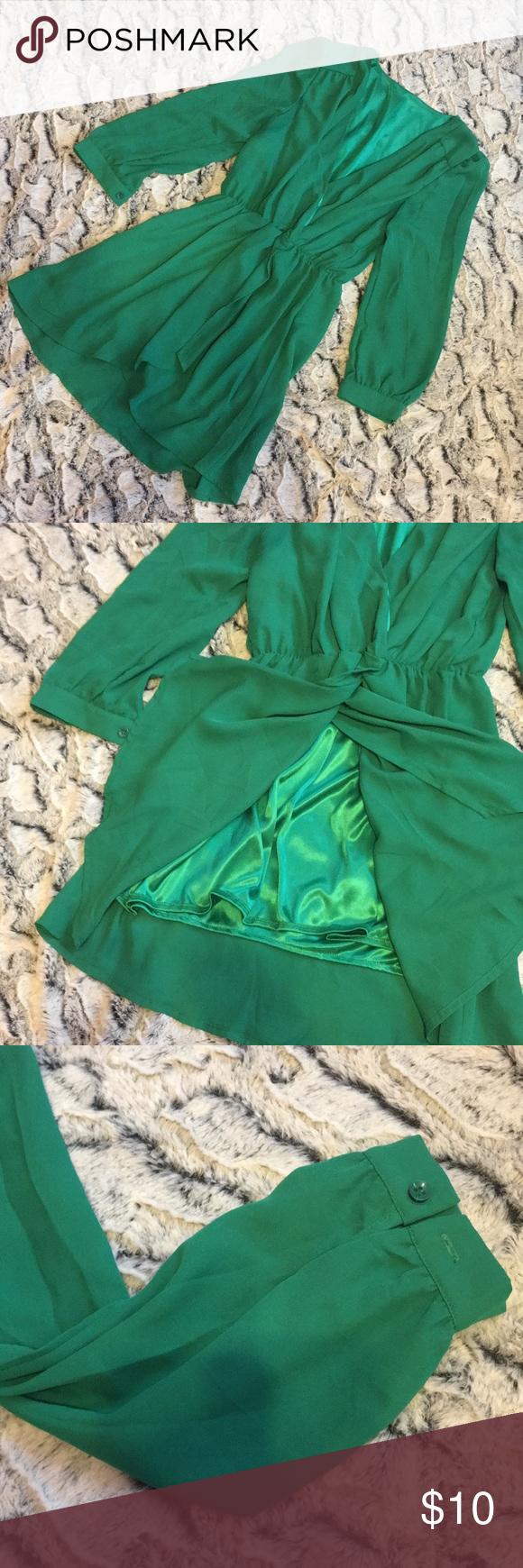 Deep v dress with faux wrap skirt wraps