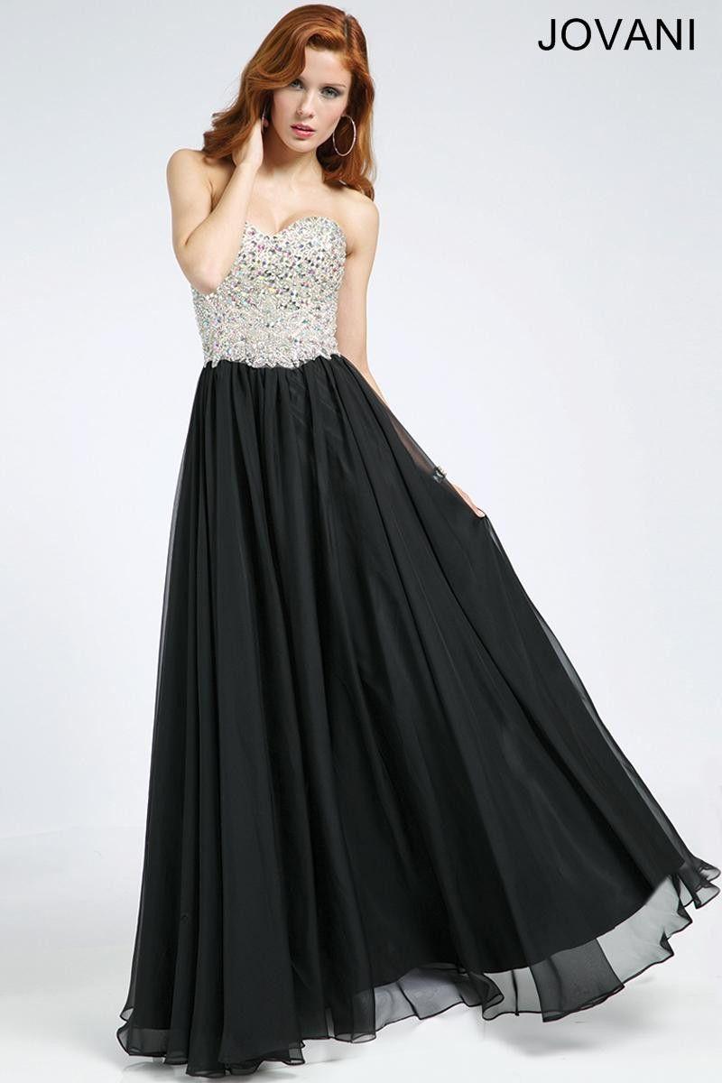 Jovani 98520 Black Jeweled Top Chiffon Evening Gown Prom Dress SALE ...