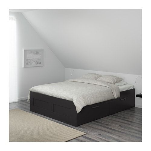 Brimnes Bed Frame With Storage White, White Queen Size Bed Frame With Drawers
