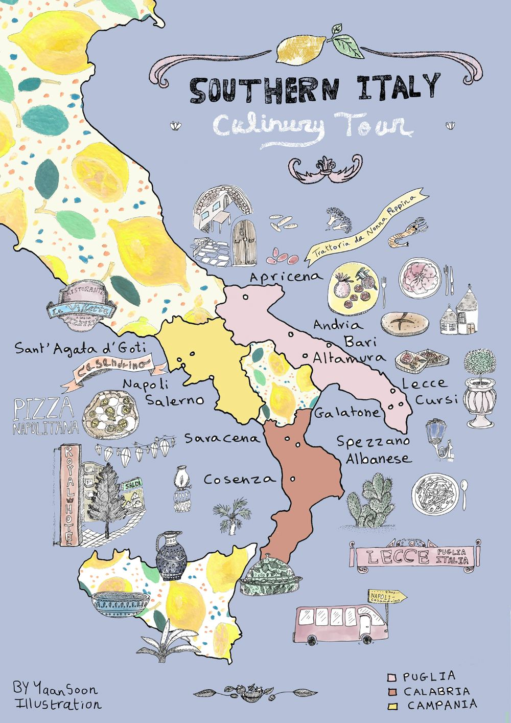 Southern Italy Map Italy Culinary Tour: Southern Italy Illustrated Map | Yaansoon