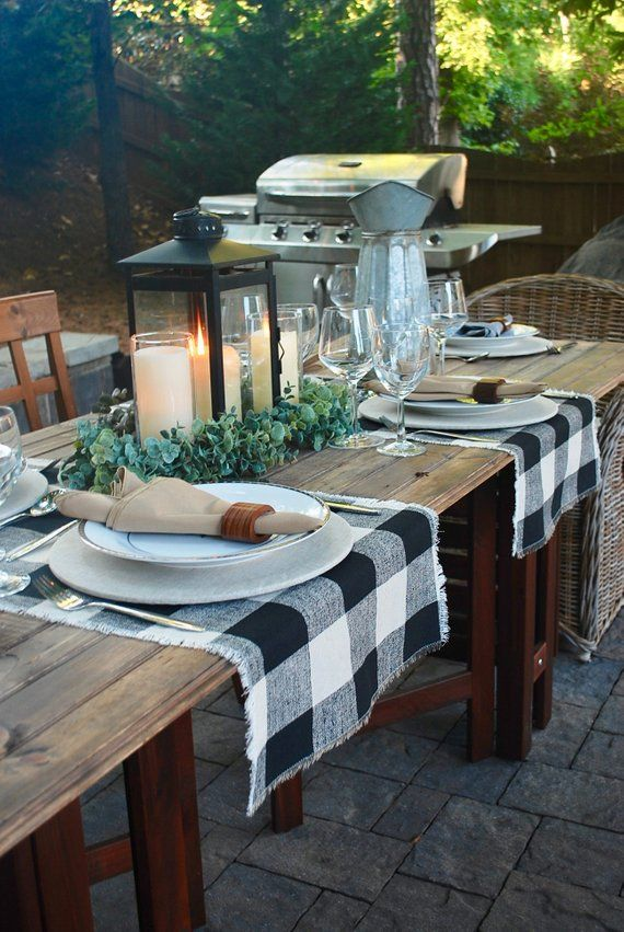 Buffalo Check Beige And Black Table Runner Fringescountry Etsy Patio Table Decor Everyday Table Decor Outdoor Dining Table Decor