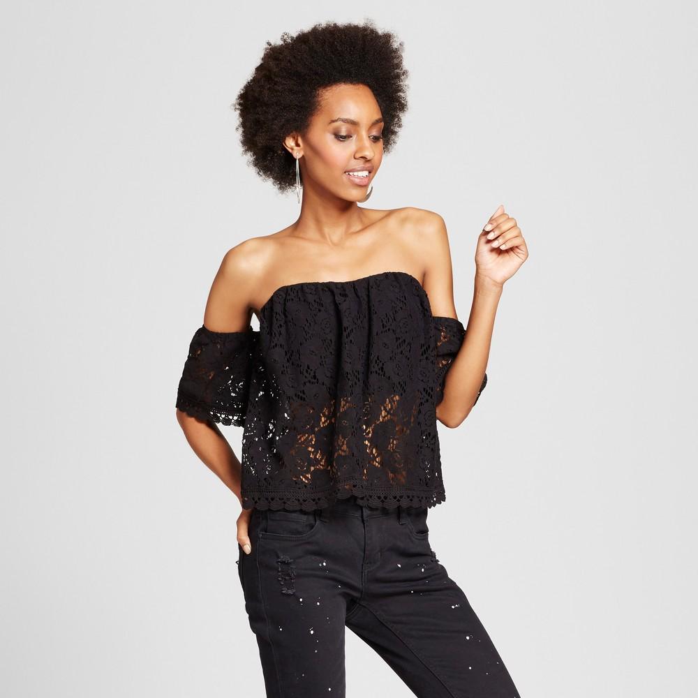 92650a6f8cda Women s Lace Cold Shoulder Tube Top - Xhilaration (Juniors ) Black ...