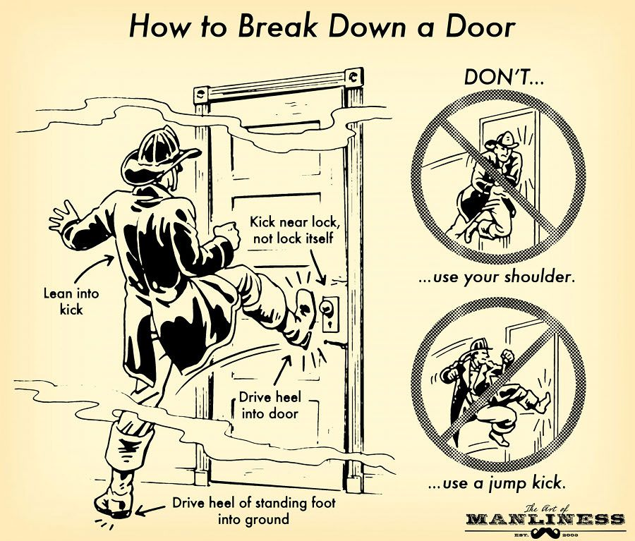 How to Break Down a Door: An Illustrated Guide - just in case you ever need to....