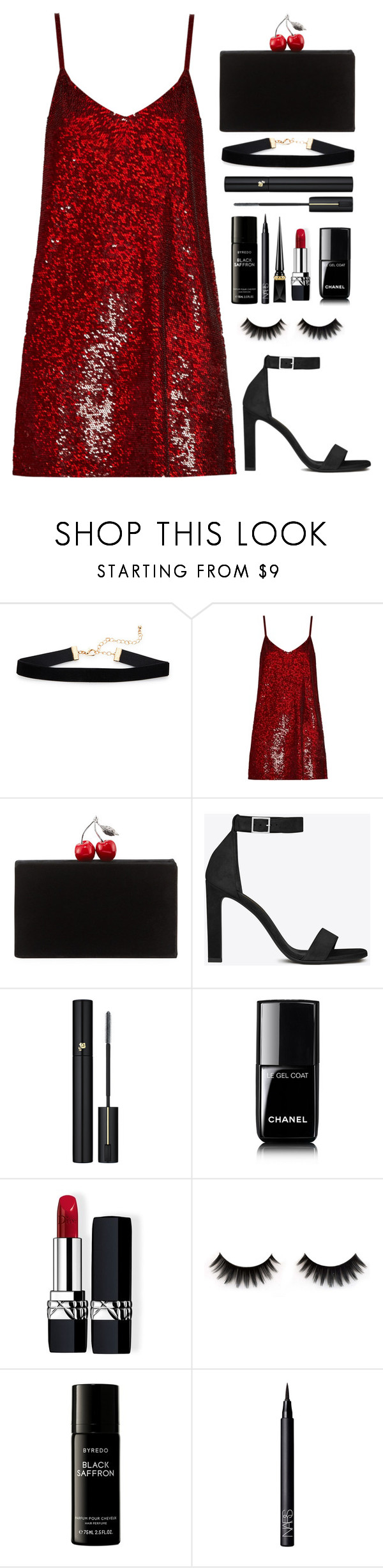"""The Red Dress"" by melaniemeran ❤ liked on Polyvore featuring Ashish, Edie Parker, Yves Saint Laurent, Lancôme, Chanel, Christian Dior, Liberty, NARS Cosmetics and Christian Louboutin"