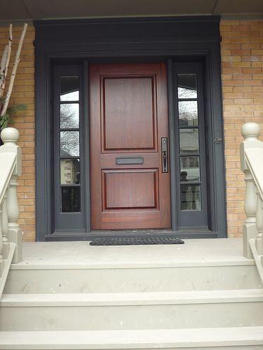 Mahogany Door With Black Sidelites And Trim Exterior