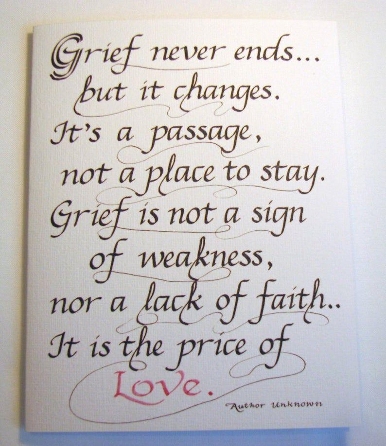 Sympathy Calligraphy Card 4.25 x 5.5  Grief | Etsy