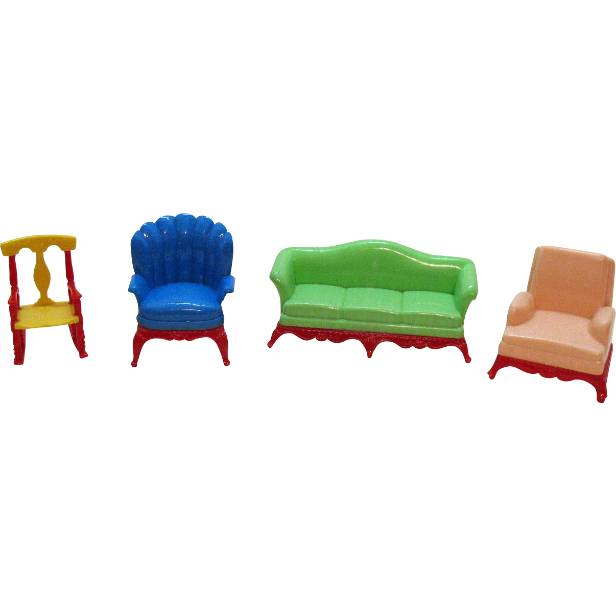 Four vintage hard plastic renwal doll house furniture s good