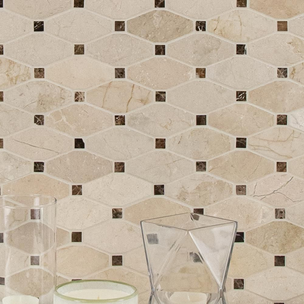 Msi Valencia Blend Elongated Octagon 12 In X 12 In X 10 Mm Polished Marble Mesh Mounted Mosaic Tile 10 Sq Ft In 2020 Marble Mosaic Mosaic Tiles Marble Mosaic Tiles