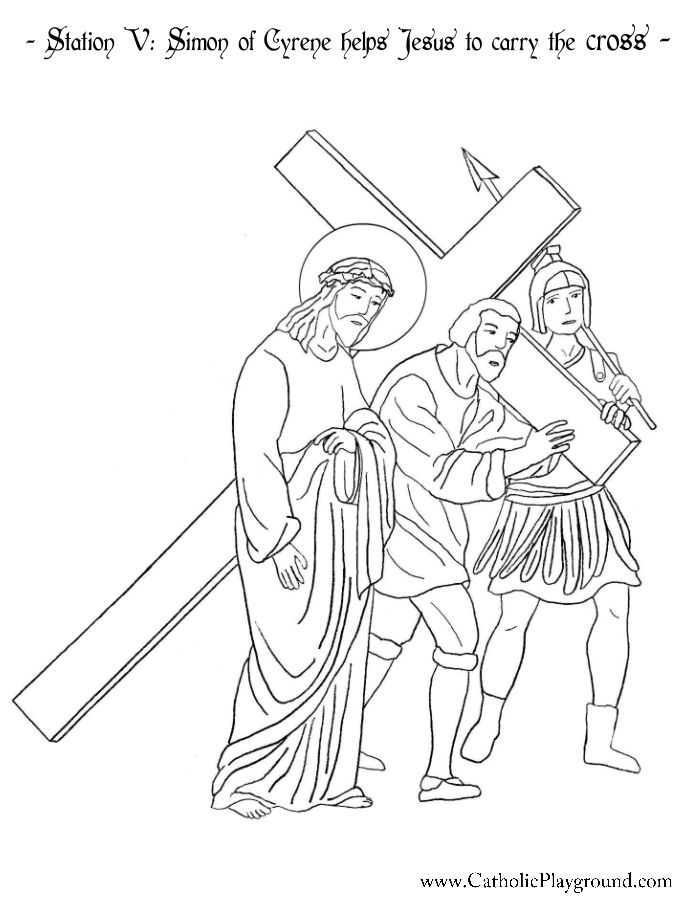 Station V: Simon of Cyrene helps Jesus to carry the cross