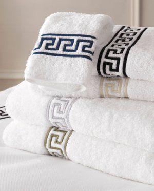 100 Egyptian Cotton Towel Set With Greek Key Embroidery Egyptian