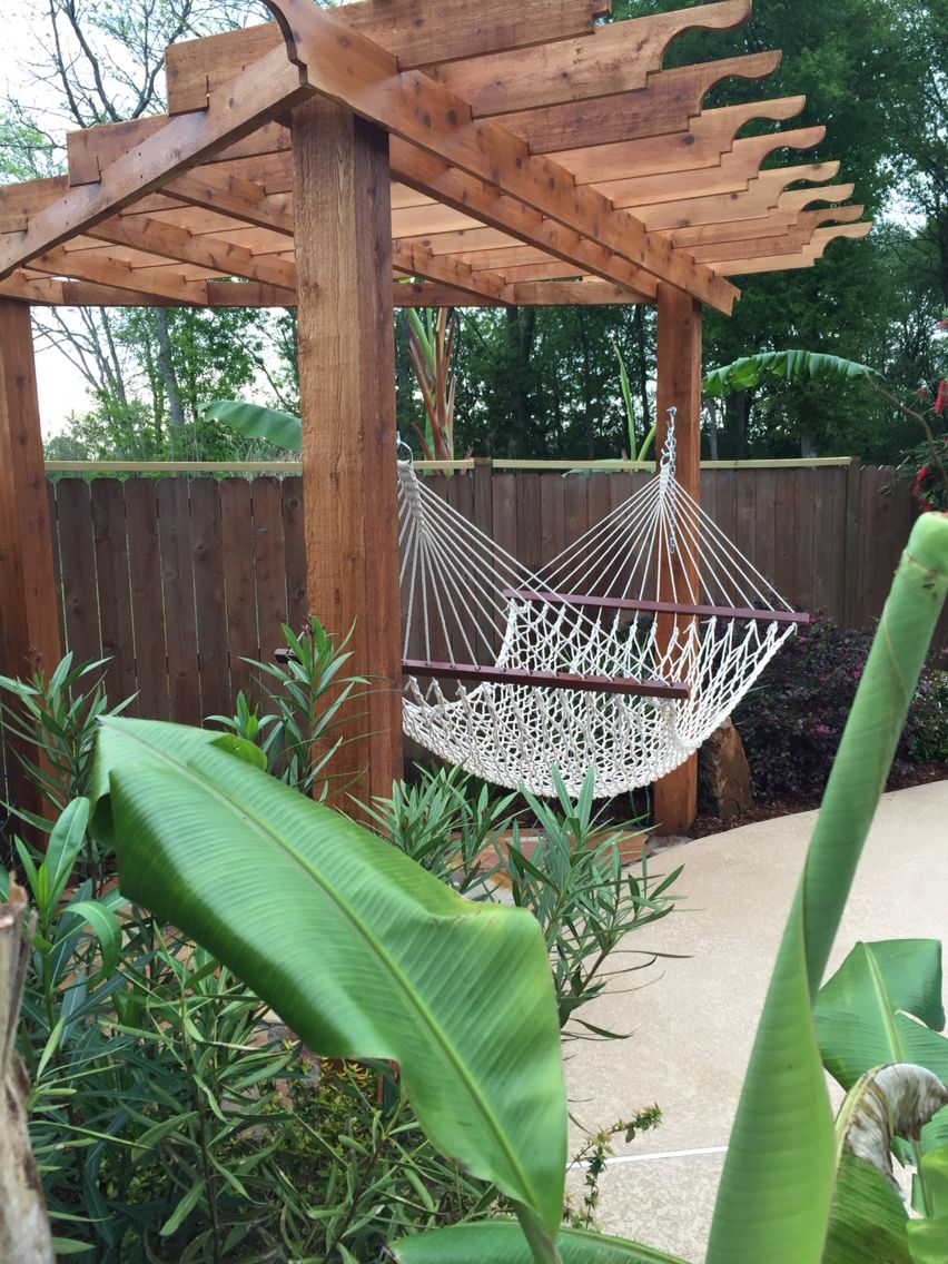 Triangle Pergola Backyard Pinterest Backyard Hammock Backyard