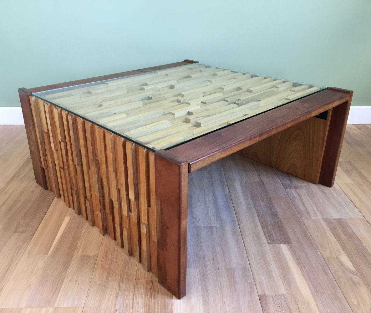 Foldable coffee table by percival lafer with mosaïc of exotic woods