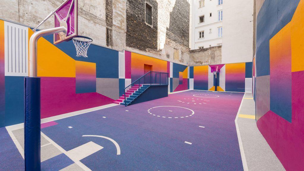 Colourful Paris Basketball Court Paris By Pigalle Duperré Pigalle Basketball Installation Art Basketball Court