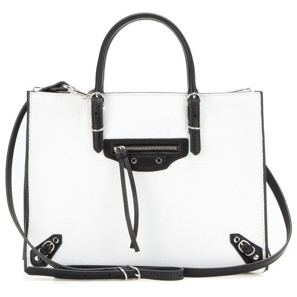Balenciaga Mini Papier A4 Zip Around Leather Shoulder Bag (5.250 RON) ❤ liked on Polyvore featuring bags, handbags, shoulder bags, purses, white, leather shoulder handbags, white leather purse, leather handbags, white leather shoulder bag and white purse