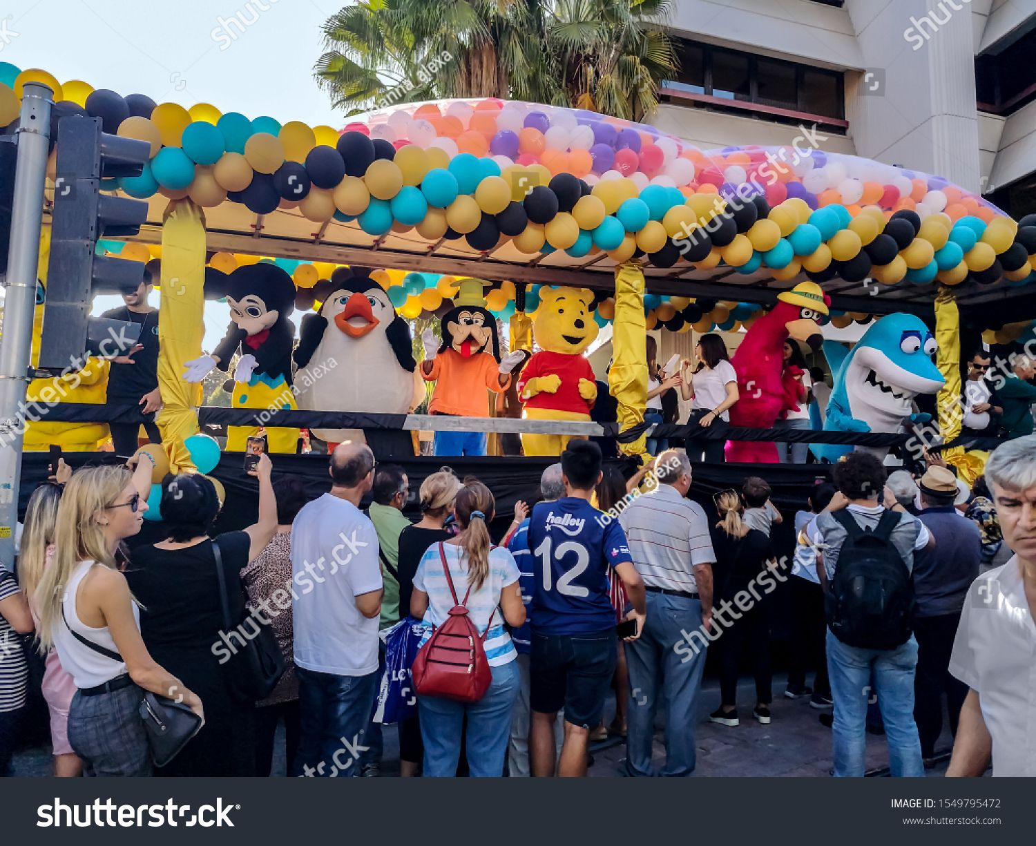 Antalya Turkey  October 26 2019 People in costumes of cartoon characters at the 56th Antalya Golden Orange Film Festival Fans meet and take pictures of celebrities on the...