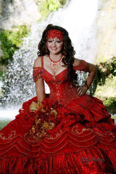 Rojo Vestido De Quinceañera Fotografia Vestidos Xv