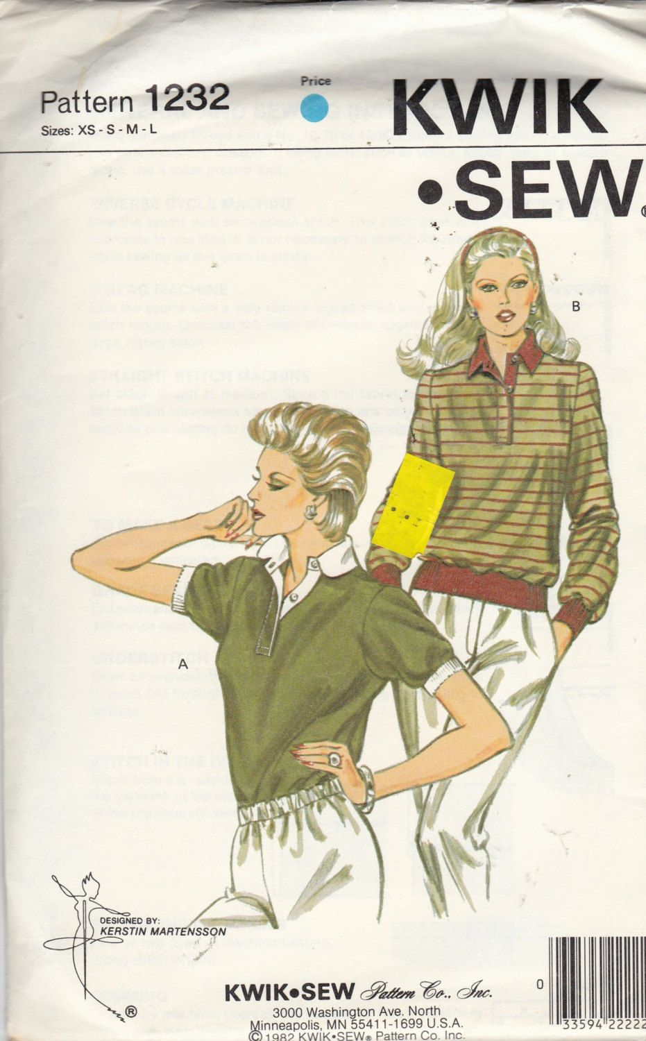 Uncut Kwik Sew Pattern 1232 - MISSES TOP / SHIRTS with Collar - Sz ...