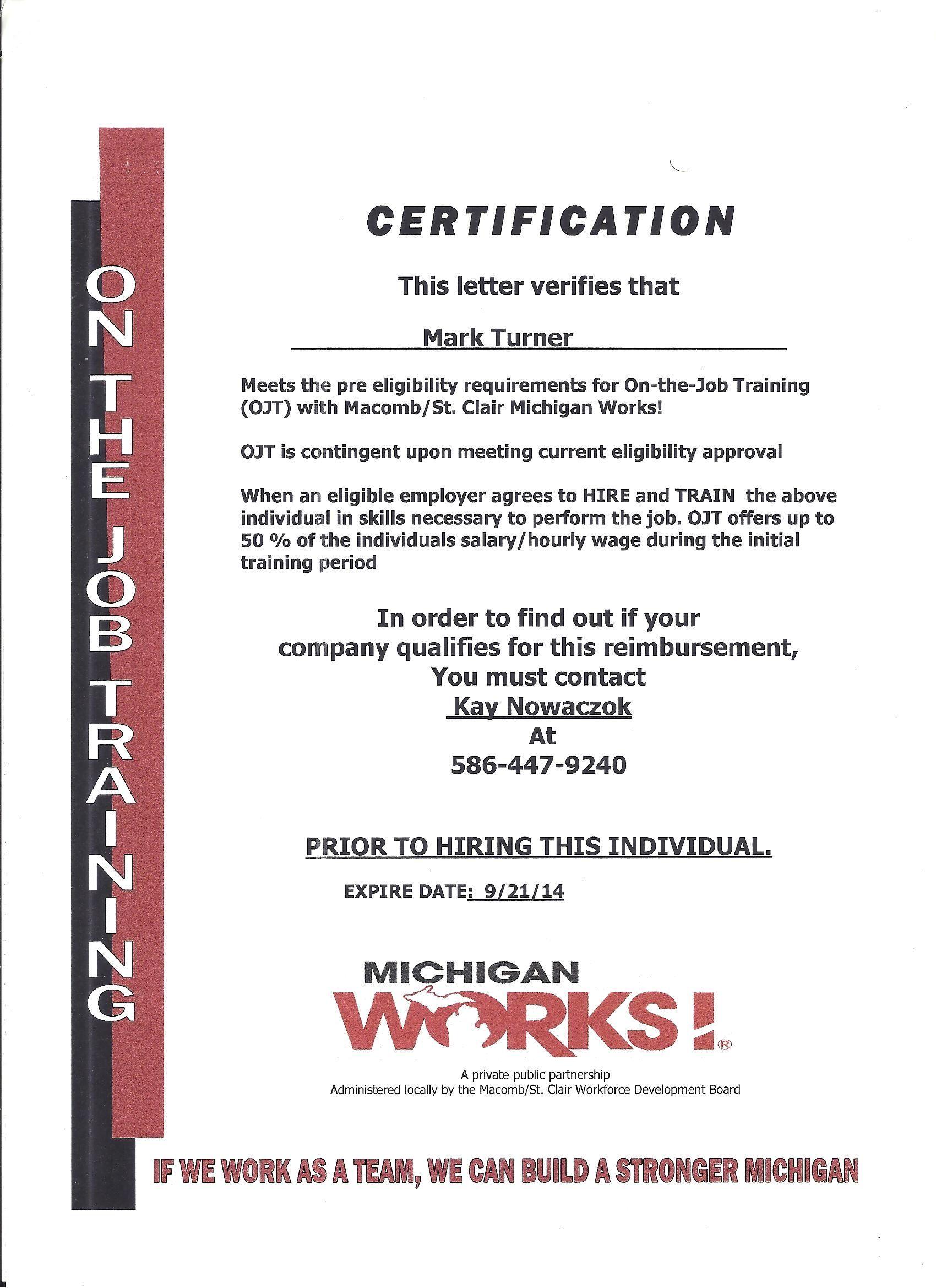 Ojt Certification Mark Turner All Things Considered Pinterest