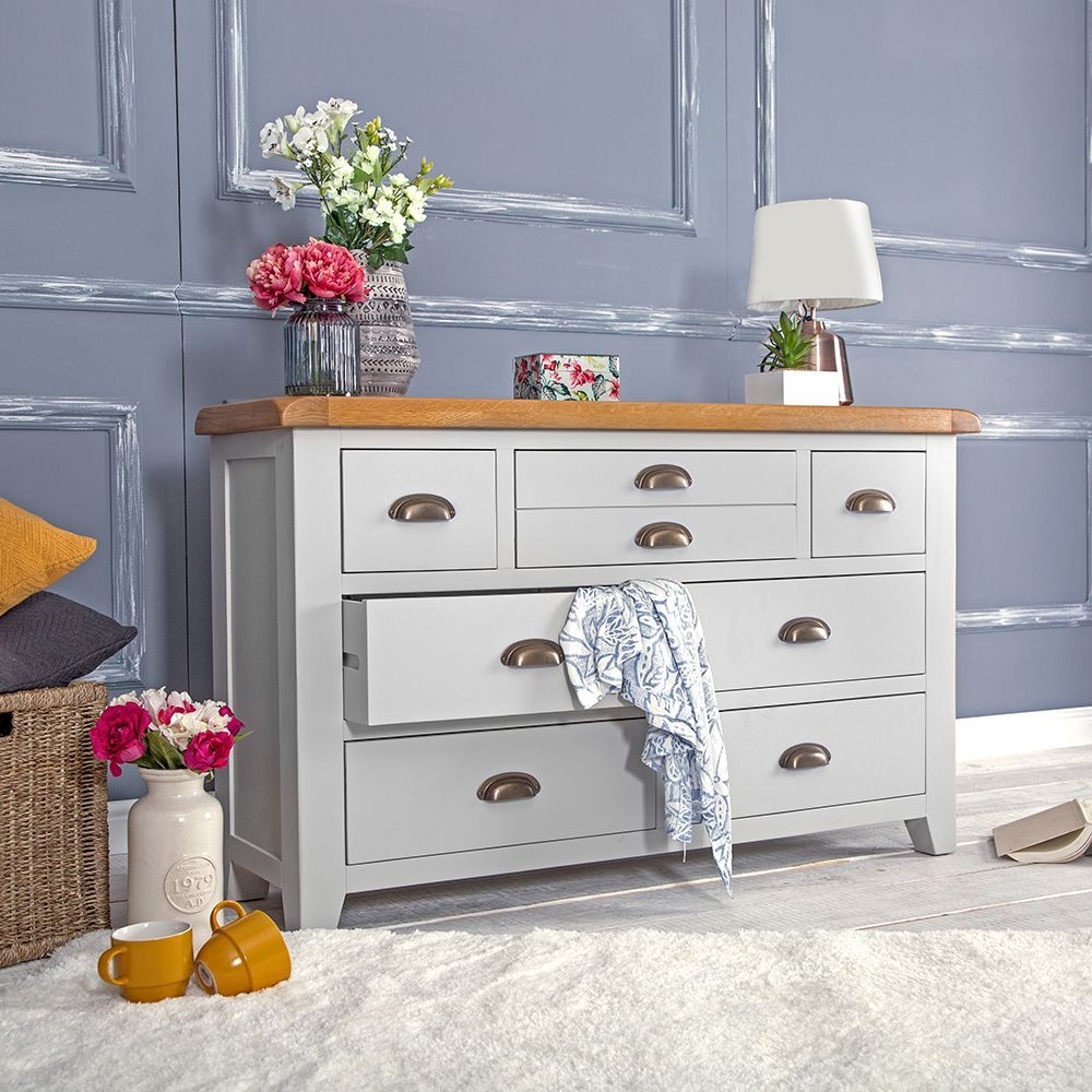 Hampshire Grey Painted Oak 3 Over 4 Chest With Images Mirrored Bedroom Furniture Oak Bedroom Furniture Bedroom Furniture Makeover