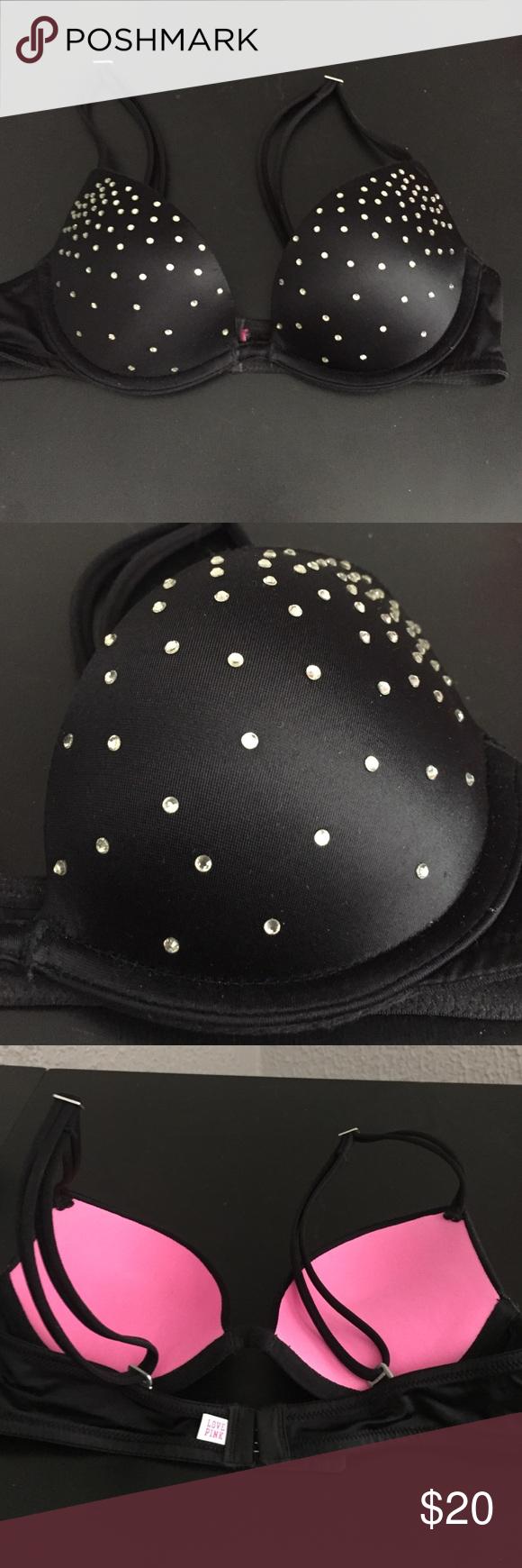 black vspink bra black pushup bra. gems all over. worn once. vspink. PINK Victoria's Secret Intimates & Sleepwear Bras