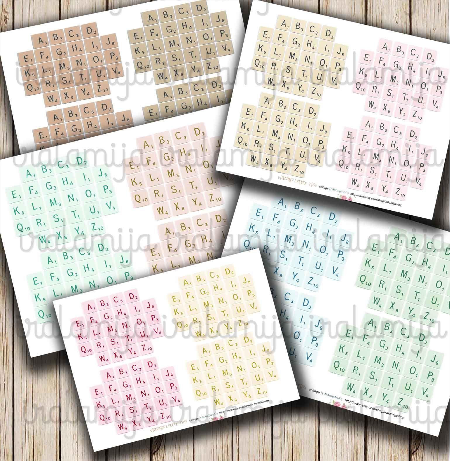 Vintage Letter Tiles Letter Alphabet Digital Images Scrabble Letters Printable Download File Digital Sheet Vintage Paper Scrapbook In 2021 Vintage Lettering Collage Sheet Digital Collage